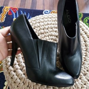 Aldo leather ankle heel boots shoes black size 8